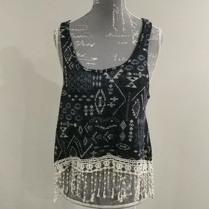 Forever 21 soft racerback shirt w crochet accents